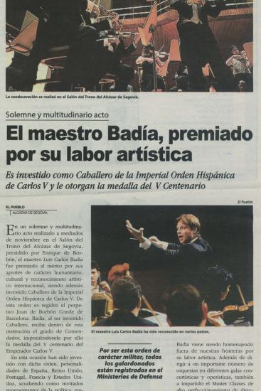 Badia awarded for his artistic work (Spain)