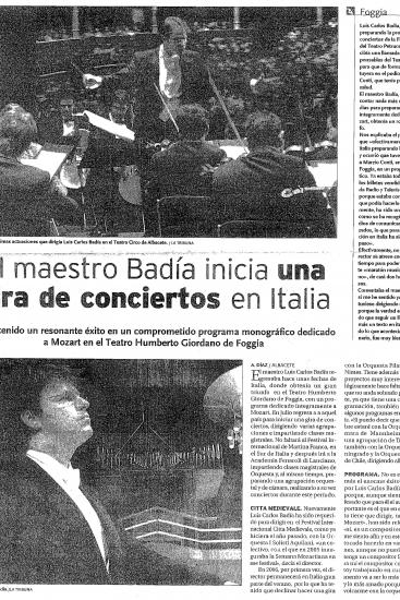 Luis Carlos Badía begins a concert tour with his orchestra (Spain)