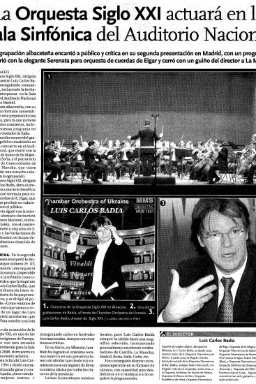 21th Century Orchestra will play at the Auditorio Nacional in Madrid (Spain)