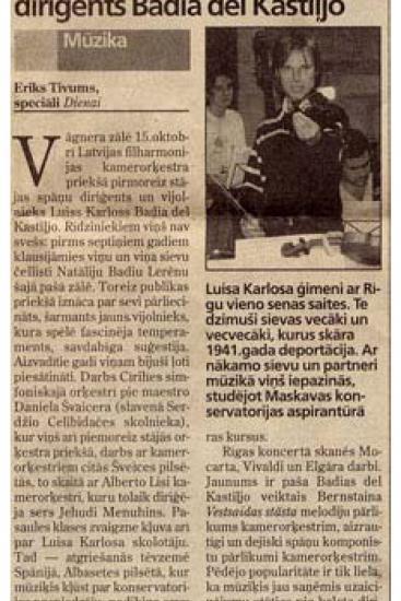 Presentación del  violinista y director español Luis C. Badía (Letonia)
