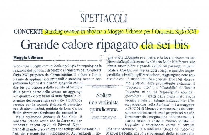 Ovación en Udine con 6 bis. (Italia)