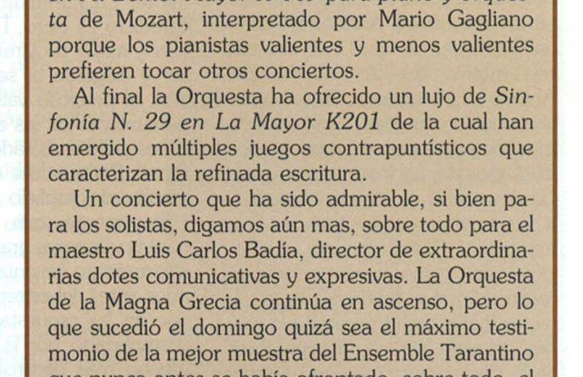 Luis Carlos Badía succeeds in the Musical Autumn of Taranto (Spain)