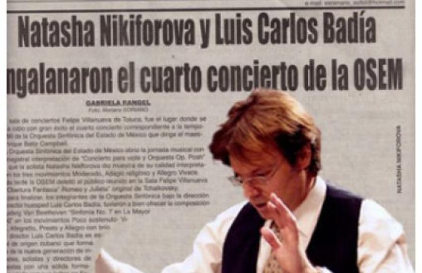 Natasha Nikiforova and Luis Carlos Badia spruce up the concert. (Mexico).