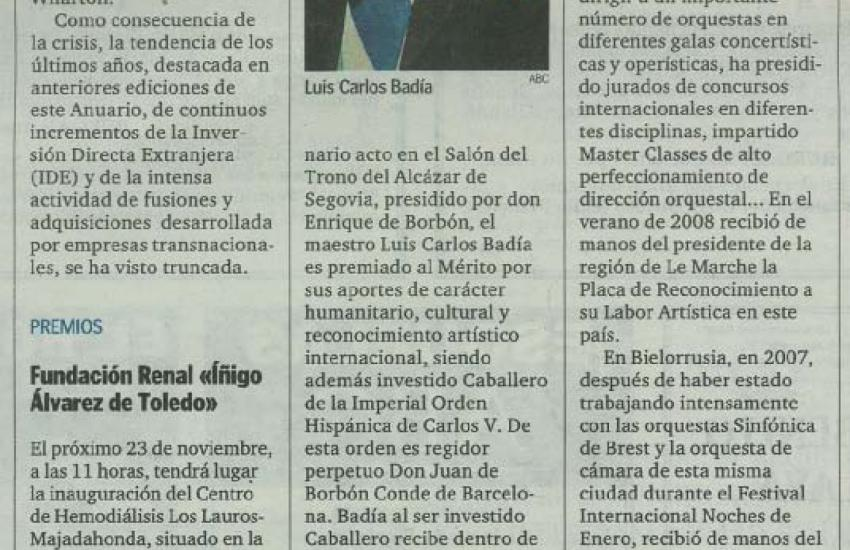 Luis Carlos Badía knighted by the Herald Order of Charles V (Spain)