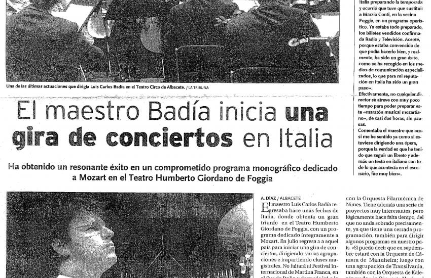 Luis Carlos Badía begins a concert tour with his orchestra (Spain)