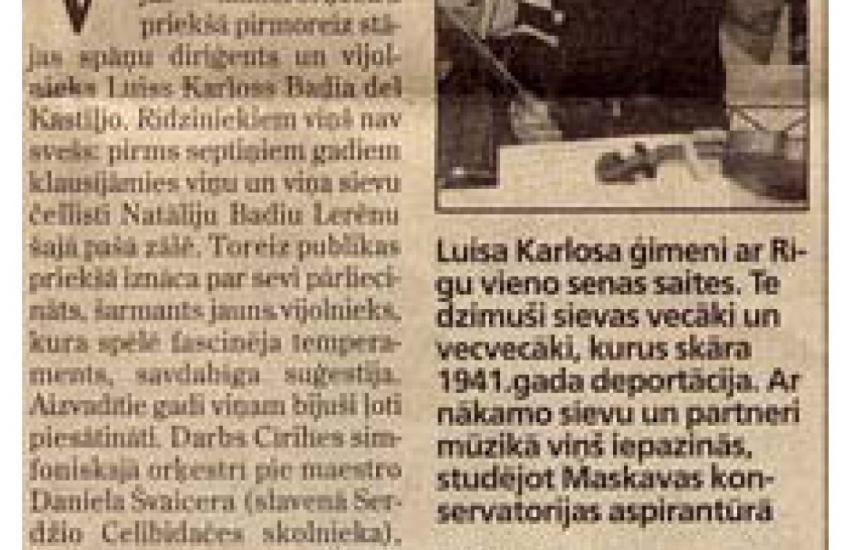 Presentation by Spanish violinist and conductor Luis C. Badía (Latvia)